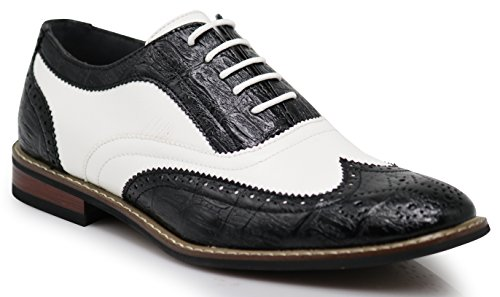 Men's Classic Italy Modern Oxford Wingtip Captoe 2-Tone Lace Dress Shoes (12, -