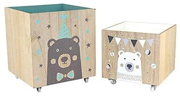 Spielzeugkiste aus Holz mit Rollen: Amazon.de: Baby