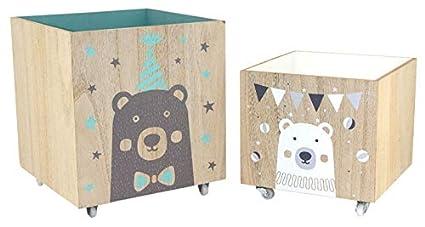 Baúl para juguetes de madera con ruedas: Amazon.es: Bebé