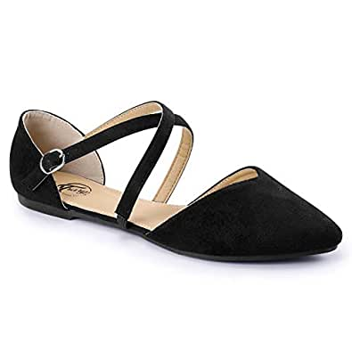 Trary Women's D'Orsay Criss Cross Strap Ballet Flat Shoes Black Size: 5