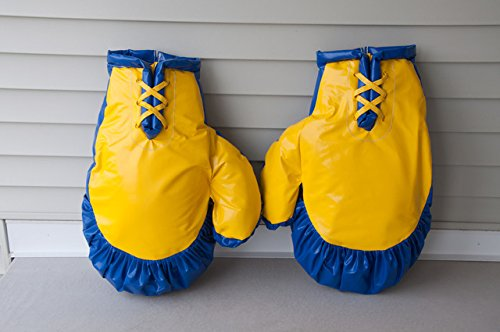 Giant Boxing Gloves for Bounce House Inflatables, Commercial Quality Low Density Foam and Double Stitched Vinyl, Replacement for Interactive Inflated Boxing Ring (Blue and Yellow Pair)