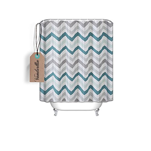 Delicate Chevron Pattern Design Fabric Shower Curtain 72 X 84 Extra Long Size