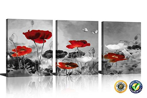 HLJ Modern Poppies Butterfly Fly Over The Black and White Red Flower Abstract Painting Still Life Canvas Wall Art for Living Room Decor 3pcs/Set (A-RF, - Stickers Arf Art