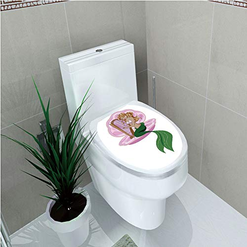 Toilet Cover Sticker,Mermaid,Little Mermaid with Blonde Hair Playing Harp Fairy Tale Romance Art Illustration,Pink Green,Custom ()
