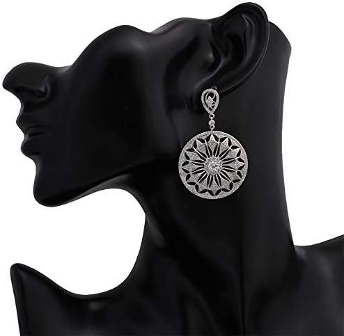 Nueva moda elegante flor círculo grandes pendientes de gota para mujer regalo vintage pendientes largos joyería de moda