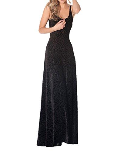 JOLLYCHIC Women's Summer Solid Backless Sleeveless Tank U Neck Long Maxi Dress Size 6 US Black
