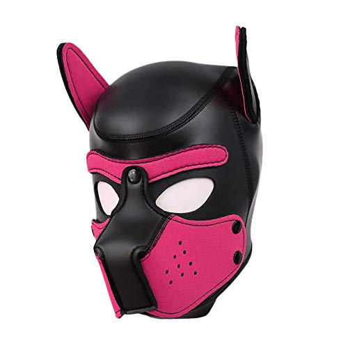 Unisex Rubber Puppy Dog Hood Mask Wild Animal Head Masks Toys for Costume Cosplay (Black-Rosy)