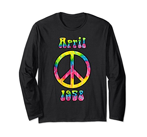 Unisex Hippie Peace Sign April 1958 60th Birthday Gift LS T-Shirt XL: Black Adult Groovy Hippie Shirt