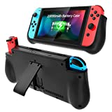 NEWDERY External Battery Case for Nintendo Switch, 10000mAh Backup Charger Case Support PD Quick Charging with 2 Extra Game Card Slots Adjustable Kickstand for Nintendo Switch
