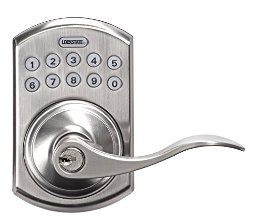LockState LS-L550-SN Electronic Keypad Lever Door Lock Satin Nickel Boulder Style by LockState (Image #1)