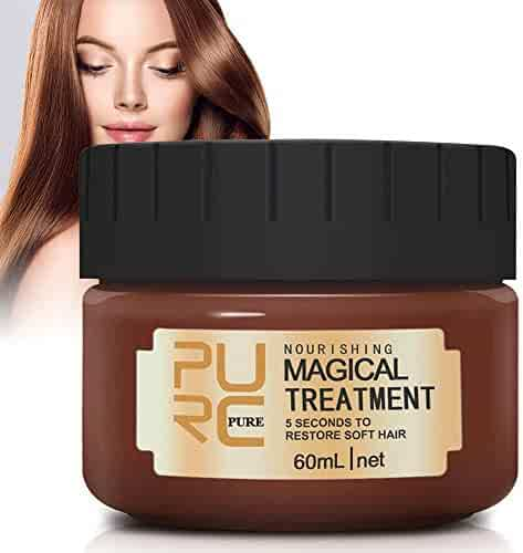 Magical Hair Treatment Mask, Advanced Molecular Hair Roots Treatment Professtional Hair Conditioner, 5 Seconds to Restore Soft Hair, Deep Conditioner Suitable for Dry & Damaged Hair-60ml