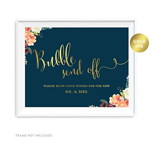 (Andaz Press Wedding Party Signs, Navy Blue Burgundy Florals with Metallic Gold Ink, 8.5x11-inch, Bubble Send Off Please Blow Good Wishes for the New Mr. & Mrs. Sign, 1-Pack, Colored)