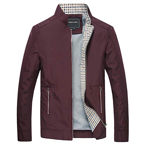 Ting room Men's Jackets Casual Coats Solid Color Mens Stand Collar Male Bomber Jackets,Wine -