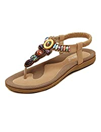 Minibee Women's Summer Gem Stone and Crystal Embellished Flat Sandals