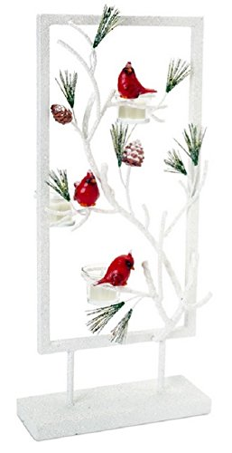 Pack of 2 Red and White Snowy Cardinal Tea Light Christmas Candle Holder 21