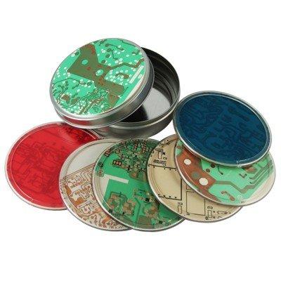 Circuit Board Coasters In Tin, Set Of 6