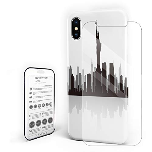 (Compatible with iPhone X Case, Hard PC Back Phone Case with Tempered Glass Screen Protector Silhouette of New York City Statue of Liberty Shockproof)