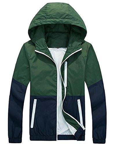 Jacket Lightweight Sleeve Hooded Windbreaker Colorblock Men's Zip Gocgt Long 3 Full zq5cC
