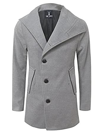 TAM WARE Mens Slim Fit Unbalanced Single Breasted Button Wool Pea Coat TWNFD077JA-GRAY-US S