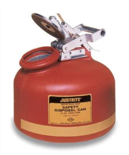 JUSTRITE Manufacturing 14762 Wide Mouth Liquid Disposal Red Flammables Can, 2 gal Capacity, Round Shape, Stainless Steel, 14-3/4'' H x 12'' Diameter
