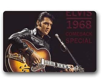 Elvis Presley diseño de interior y al aire libre Felpudo personalizado personalizado machine-wahable neopreno de goma Felpudo 23,6x 39,88cm