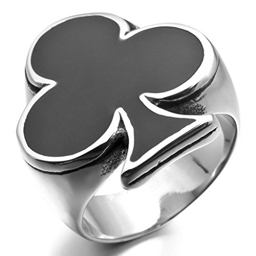 [Epinki,Fashion Jewelry Men's Stainless Steel Enamel Rings Silver Black Ace of Clubs Playing Card Spades Card Poker Biker Polished Size] (Angel Wings Costume Malaysia)