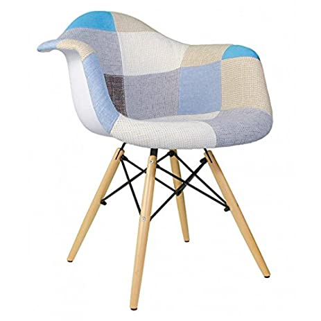Patchwork Fabric Upholstered Mid Century Eames Style Accent Arm Chair