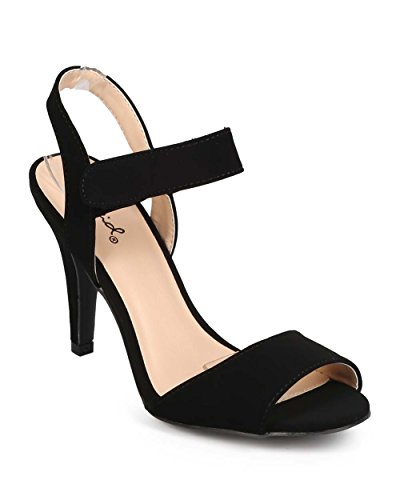 Qupid ed38レディースヌバックオープントウVelcro Single Sole Slingback Sandal – ブラック