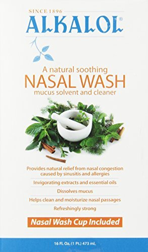 Alkalol - A Natural Soothing Nasal Wash, Mucus Solvent and Cleaner Kit - with Cup, 16-oz. (5 Kits (16 oz)) (Nasal Rinse Cup)