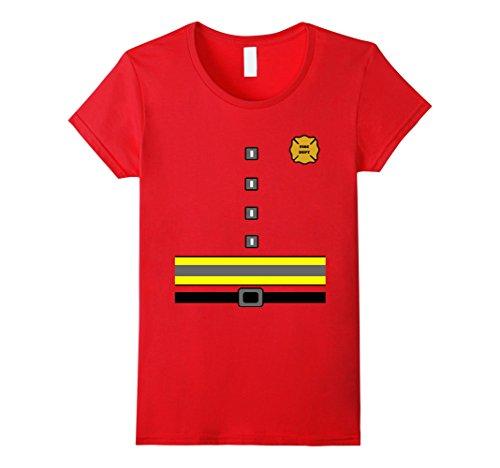 [Women's Firefighter Uniform Costume T Shirt Small Red] (Womens Firefighter Costumes)
