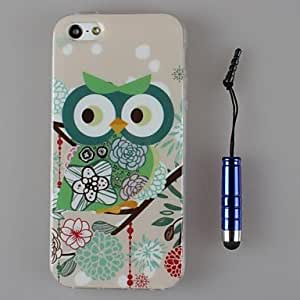 iPhone 5S Case, WKell TPU Beautiful Owls Soft Shell and Capacitance Pen for iPhone 5/5S (Assorted Colors)