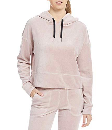 (Calvin Klein Performance Velour Cropped Full Zip Drawstring Hoodie Women's (M,)