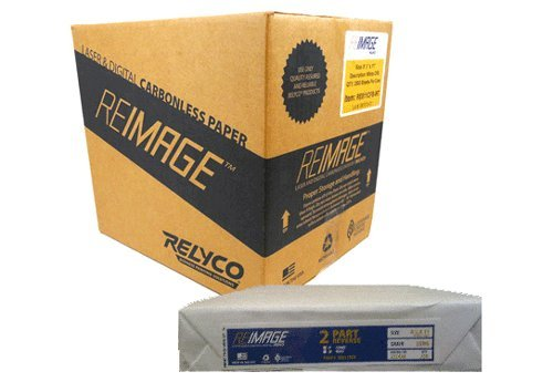 REIMAGE (TM) NCR Carbonless Laser Paper - 8.5x11'' 2-Part (White/Canary - Straight or Reverse) - 2500 sheets - 1250 sets by Relyco