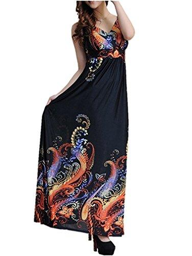 Tobyak Women V-neck Empire Waist Maxi Casual Beach Plus size Dress XS-5XL Pattern 2X-Large popular by Tobyak Dresses