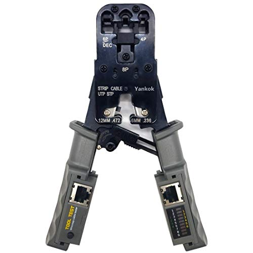Yankok Ratcheting Cable Crimper with Tester, Wire Stripper Cutter For 4P 6P 8P RJ11 RJ12 RJ22 RJ45 DEC STP/UTP Round Flat Twisted Cables, All in One Modular Crimping Tool Pliers YK002CR01