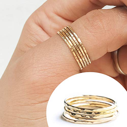 Set Of 5 Stacking Rings 14k Gold Filled, Dainty Little Plain Bands, Size -