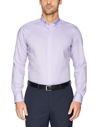 Buttoned Down Men's Tailored Fit Button-Collar Solid Non-Iron Dress Shirt (No Pocket), Purple, 16.5'' Neck 35'' Sleeve by Buttoned Down (Image #3)
