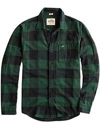 Men's Flannel Long Sleeve Button-Down Shirt, Green Check