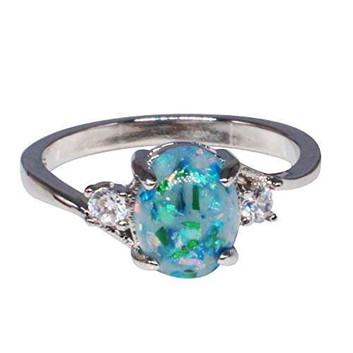 Aunimeifly Deals Opal Rings Women Sterling Silver Rings Oval Cut Fire Opal Diamond Band Rings Jewelry Gift