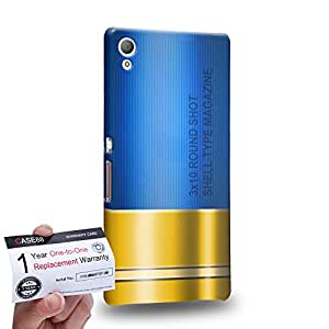 Case88 [Sony Xperia Z3+ / Z4] 3D impresa Carcasa/Funda dura para & Tarjeta de garantía - Art Fashion Blue Shoutgun Magazine Gunner Metal Slugs