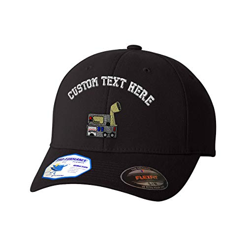 Custom Text Embroidered Ham Radio Communication Unisex Adult Elastic Polyester/Spandex Flexfit Pro-Formance Hat Baseball Cap - Black