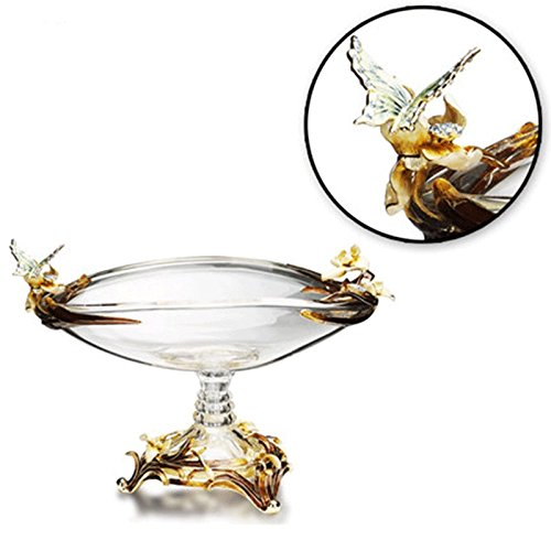 RORO Wedding Gift, Enameled and Jeweled Bohemia Crystal Butterfly Centerpiece Fruit Plate, Versace-inspired, Swarovski Decoration, Luxury Home Accessories
