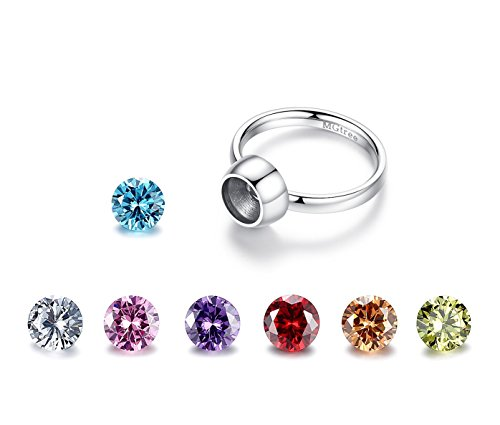 MgTree Jewelry Stainless Steel Seven Color Round Cubic Zirconia Rings for Women Girls, Sizes 4 to 8 (Ring Size: 4)