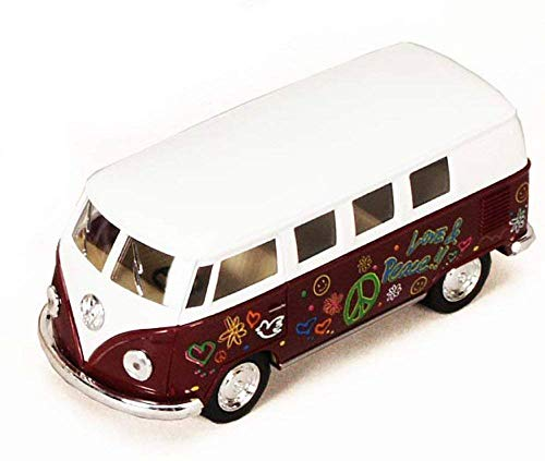 1962 Volkswagen Classic Bus with Decals 1/32 scale Die Cast Model Toy Car - MAROON