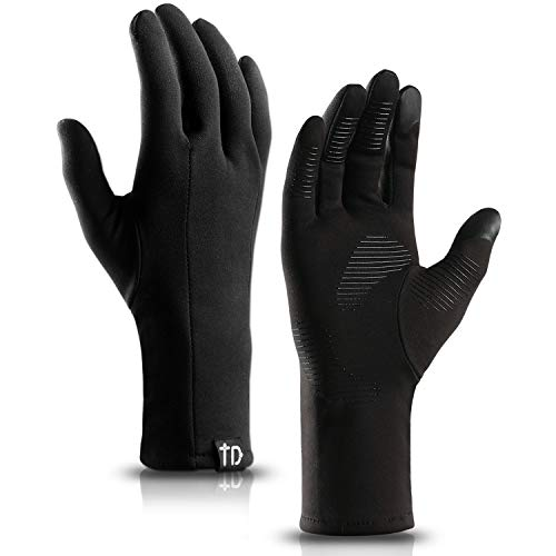 TRENDOUX Running Gloves, Windproof Winter Touch Screen Glove Men Women Texting Smartphone - Anti-Slip - Long Sleeve Lightweight - Hands Warm in Cold Weather Cycling Driving - Black - L