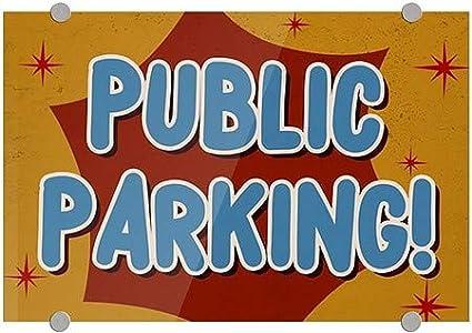 18x12 Public Parking Nostalgia Burst Premium Acrylic Sign CGSignLab 5-Pack