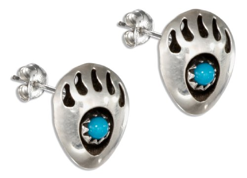 Sterling Bear Claw (Sterling Silver Bear Claw Post Earrings with Round Simulated Turquoise Stone)