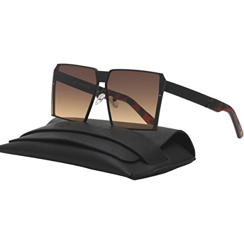 Flat Top Oversized Square Sunglasses Flat Lens Shades For Unisex 87176A Black - Shades Ombre