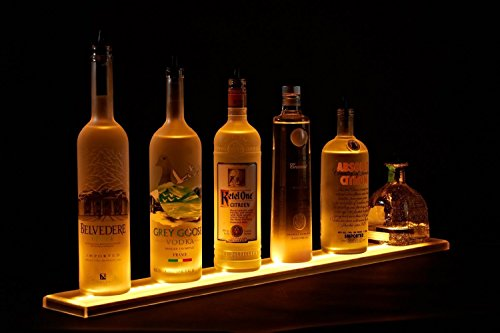 LED Liquor Shelf and Bottle Display (4 ft length) - Programmable Shelving Includes Wireless Remote and Power Supply - COMFORTABLY HOLDS 10-12 BOTTLES