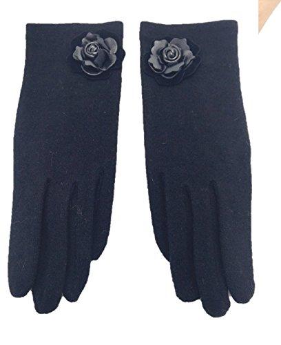一晩特徴づけるピンレディース 手袋 ウール80% スマホ用手袋 右手人差し指対応